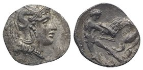Southern Apulia, Tarentum, c. 380-325 BC. AR Diobol (11mm, 0.82g, 3h). Helmeted head of Athena r., helmet decorated with hippocamp. R/ Herakles standi...