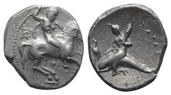 Southern Apulia, Tarentum, c. 290-281 BC. AR Nomos (22mm, 7.63g, 12h). Warror, preparing to throw spear and holding shield and two more spears, on hor...
