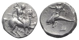 Southern Apulia, Tarentum, c. 290-281 BC. AR Nomos (18mm, 7.79g, 3h). Warrior, holding shield and two spears, preparing to cast a third, on horseback ...