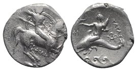 Southern Apulia, Tarentum, c. 290-281 BC. AR Nomos (20mm, 7.78g, 11h). Warrior, holding shield and two spears, preparing to cast a third, on horseback...