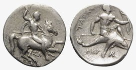 Southern Apulia, Tarentum, c. 315-302 BC. AR Nomos (21mm, 7.80g, 12h). Warrior, holding shield and two spears, preparing to cast a third, on horseback...