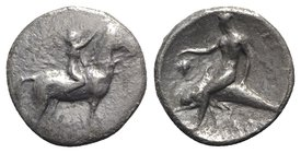Southern Apulia, Tarentum, c. 302-280 BC. AR Nomos (20mm, 7.07g, 12h). Youth on horseback r., crowning horse with wreath; ΣA to l., ΦIΛI/APXOΣ in two ...