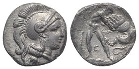 Southern Apulia, Tarentum, c. 325-280 BC. AR Diobol (11mm, 1.04g, 6h). Head of Athena r., wearing crested Attic helmet. R/ Herakles standing facing, s...
