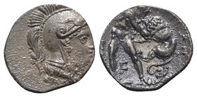 Southern Apulia, Tarentum, c. 325-280 BC. AR Diobol (11mm, 1.00g, 2h). Head of Athena r., wearing crested Attic helmet. R/ Herakles standing facing, s...