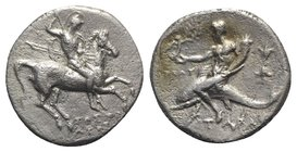 Southern Apulia, Tarentum, c. 280-272 BC. AR Nomos (20mm, 6.11g, 7h). Time of Pyrrhos of Epiros. Warrior on horseback r., holding shield and spears, p...