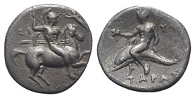 Southern Apulia, Tarentum, c. 280-272 BC. AR Nomos (21mm, 6.26g, 2h). Warror, preparing to throw spear and holding shield and two more spears, on hors...