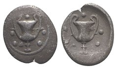 Southern Apulia, Tarentum, c. 280-228 BC. AR Obol (9mm, 0.52g, 6h). Kantharos; five pellets around. R/ Kantharos; five pellets around. Vlasto 1655-6; ...