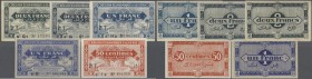 Algeria: set of 5 notes containing 1 Franc L.1944 P. 98a (UNC), 50 Centimes L.1944 P. 100 (UNC), 1 Franc L.1944 P. 101 (VF) and 2x 2 Francs L.1944 P. ...