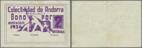 "Andorra: seldom seen note ""Colectividad de Andorra"" 2 Enteros 1936 remainder without signatures, center fold, handling in paper, condition: VF."