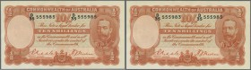 Australia: highly rare set of 3 CONSECUTIVE banknotes 10 Shillings 1936 portrait KGV, issued during the worldwide depression era, signed Riddle-Sheeha...