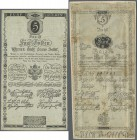 Austria: set of 2 different notes 5 Gulden, one from 1806 P. A38 in used condition with folds but without holes or tears, the other 5 Gulden dated 180...