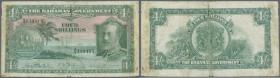 Bahamas: 4 Shillings ND(1930) P. 5, stronger used with lots of handling, borders a bit more worn, very strong center fold which causes some holes alon...