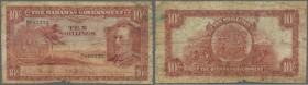 Bahamas: 10 Shillings ND(1930) P. 6, stronger used with a small missing part at lower border, lots of stain and already some softness in paper, no hol...