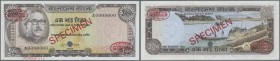 "Bangladesh: 100 Taka ND (1972) Specimen P. 12as with red ""Specimen"" overprint in center on front and back, specimen number ""70"" printed at lower borde..."