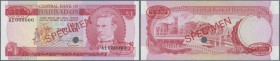 "Barbados: 1 Dollar ND (1973) Specimen P. 29s with red ""Specimen"" overprint in center on front and back, specimen number ""7"" printed at lower border, o..."