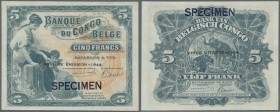 Belgian Congo: 5 Francs 1944 SPECIMEN w/o serial number, P.13Acs, tiny dint at upper right corner, otherwise perfect. Condition: aUNC