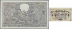 Belgium: set with 4 Banknotes 1 Franc Société General de Belgique 1818, 50 and 100 Francs 1943/44 and 5 Francs 1943, P.86, 106, 107, 121 in VF to UNC ...