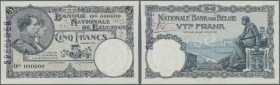 "Belgium: 5 Francs (specimen date) 23.01.23 SPECIMEN P. 93s, rare note with zero serial numbers, specimen stamped at left border on front, ""No. 5"" hand..."