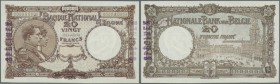 Belgium: 20 Francs ND SPECIMEN P. 94s, rare note with zero serial numbers, stamped specimen at left border on front, no holes or tears, light center f...