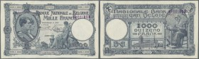 Belgium: 1000 Francs ND(1922-1927) SPECIMEN P. 96s, rare banknote, early date, zero serial numbers, stamped specimen on front and back, center fold, l...