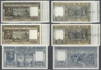 Belgium: set of 13 banknotes containing 1x 1000 Francs 1944 P. 128, no visible folds, only light handling in paper, probably pressed (condition VF), a...