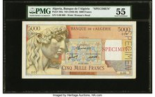 Algeria Banque de l'Algerie 5000 Francs ND (1946-49) Pick 105s Specimen PMG About Uncirculated 55. The colors remain vibrant on this large format Alge...