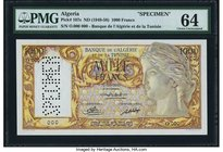 Algeria Banque de l'Algerie et de la Tunisie 1000 Francs ND (1949-58) Pick 107s Specimen PMG Choice Uncirculated 64. An incredible Specimen of a type ...