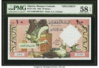 Algeria Banque Centrale d'Algerie 10; 50; 100 Dinars 1964 Pick 123s; 124s; 125s Three Specimens PMG Choice About Unc 58 EPQ; PMG Choice About Unc 58 E...