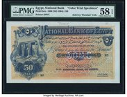 Egypt National Bank of Egypt 50 Pounds 25.6.1898 Pick 5cts Color Trial Specimen PMG Choice About Unc 58 EPQ. One of the absolute key designs for Afric...