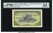 Egypt National Bank of Egypt 25 Piastres 24.8.1917 Pick 10acts Color Trial Specimen PMG About Uncirculated 53 Net. This Specimen has a rare, early dat...