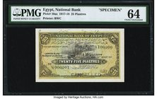 Egypt National Bank of Egypt 25 Piastres 13.8.1917 Pick 10as Specimen PMG Choice Uncirculated 64. A pleasingly choice example of this pretty Specimen,...