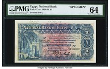 Egypt National Bank of Egypt 1 Pound 20.11.1918 Pick 12as Specimen PMG Choice Uncirculated 64. An always sought after type, and in Specimen form, high...