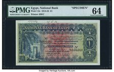 Egypt National Bank of Egypt 1 Pound 20.7.1916 Pick 12s Specimen PMG Choice Uncirculated 64. A beautiful and pleasing Specimen of this popular denomin...