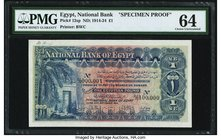 Egypt National Bank of Egypt 1 Pound 22.9.1914 Pick 12sp Specimen Proof PMG Choice Uncirculated 64. A pretty and clean example of this popular denomin...