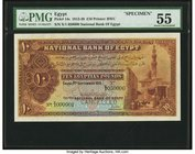 Egypt National Bank of Egypt 10 Pounds 2.9.1913 Pick 14s Specimen PMG About Uncirculated 55. This example exhibits excellent color and broad margins t...