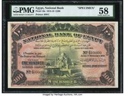 Egypt National Bank of Egypt 100 Pounds 1.11.1918 Pick 16s Specimen PMG Choice About Unc 58. A Z/8 prefix Specimen having serials 090001 and 100000. W...