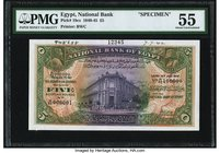 Egypt National Bank of Egypt 5 Pounds 14.7.1942 Pick 19cs Specimen PMG About Uncirculated 55. Vignette is of the National Bank of Egypt's building. Th...
