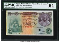 Egypt National Bank of Egypt 5 Pounds ND (1952-60) Pick 31cts Color Trial Specimen PMG Choice Uncirculated 64 Net. A beautiful, and colorful rendition...