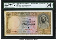 Egypt National Bank of Egypt 10 Pounds ND (1952-60) Pick 32cts Color Trial Specimen PMG Choice Uncirculated 64 Net. A rare Color Trial Specimen where ...