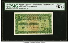 Egypt Egyptian Government 10 Piastres 27.5.1917 Pick 160bs Specimen PMG Gem Uncirculated 65 EPQ. King Ahmed Fuad I approved the issuance of these smal...