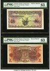 Ethiopia Bank of Abyssinia 5 Thalers 1915-29 Pick 1p1; Pick 1p2 Face and Back Proofs PMG Choice Uncirculated 63. Printed by BWC, this appealing pair o...