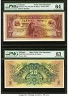 Ethiopia Bank of Abyssinia 50 Thalers ND (1915-1929) Pick 3cts; 3cts2 Front and Back Color Trial Specimens PMG Choice Uncirculated 64; Choice Uncircul...