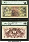 Ethiopia Bank of Abyssinia 50 Thalers ND (1915-1929) Picks 3cts1; 3cts2 Front and Back Color Trial Specimens PMG Choice Uncirculated 64; Choice Uncirc...