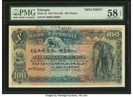 Ethiopia Bank of Abyssinia 100 Thalers ND (1915-1929) Pick 4s Specimen PMG Choice About Unc 58 EPQ. A lovely example of this attractive early issue on...