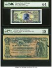 Ethiopia Bank of Ethiopia 2; 100 Thalers 1.6.1933; 1.5.1932 Pick 6; 10 Two Examples PMG Choice Uncirculated 64; Choice Fine 15. The Bank of Ethiopia o...