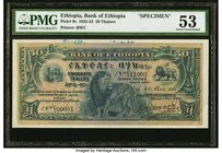 Ethiopia Bank of Ethiopia 50 Thalers 1.5.1932 Pick 9s Specimen PMG About Uncirculated 53. A great multicolor note with a regal lion vignette and an ap...