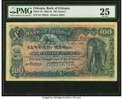 Ethiopia Bank of Ethiopia 100 Thalers 1.5.1932 Pick 10 PMG Very Fine 25. Always popular due to the great layout and vignettes, this 100 Thaler note ha...