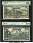 Ethiopia State Bank of Ethiopia 100; 500 Thalers ND (1945) Pick 16s; 17s Two Specimens PMG Superb Gem Unc 67 EPQ. These two high denomination Specimen...
