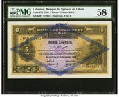 Lebanon Banque de Syrie et du Liban 5 Livres 1.9.1939 Pick 27d PMG Choice About Unc 58. A desirable, high-grade example of this larger sized note, pri...