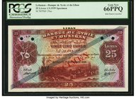 Lebanon Banque de Syrie et du Liban 25 Livres 1.9.1939 Pick 29as Specimen PCGS Gem New 66PPQ. A stunning, incredibly high grade example of this desira...